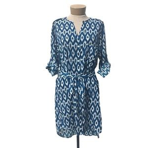 Anthropologie Maeve Ikat Frequencies Shirt Dress L